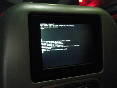 機内 エンターテイメントプログラム エラー画面(笑)